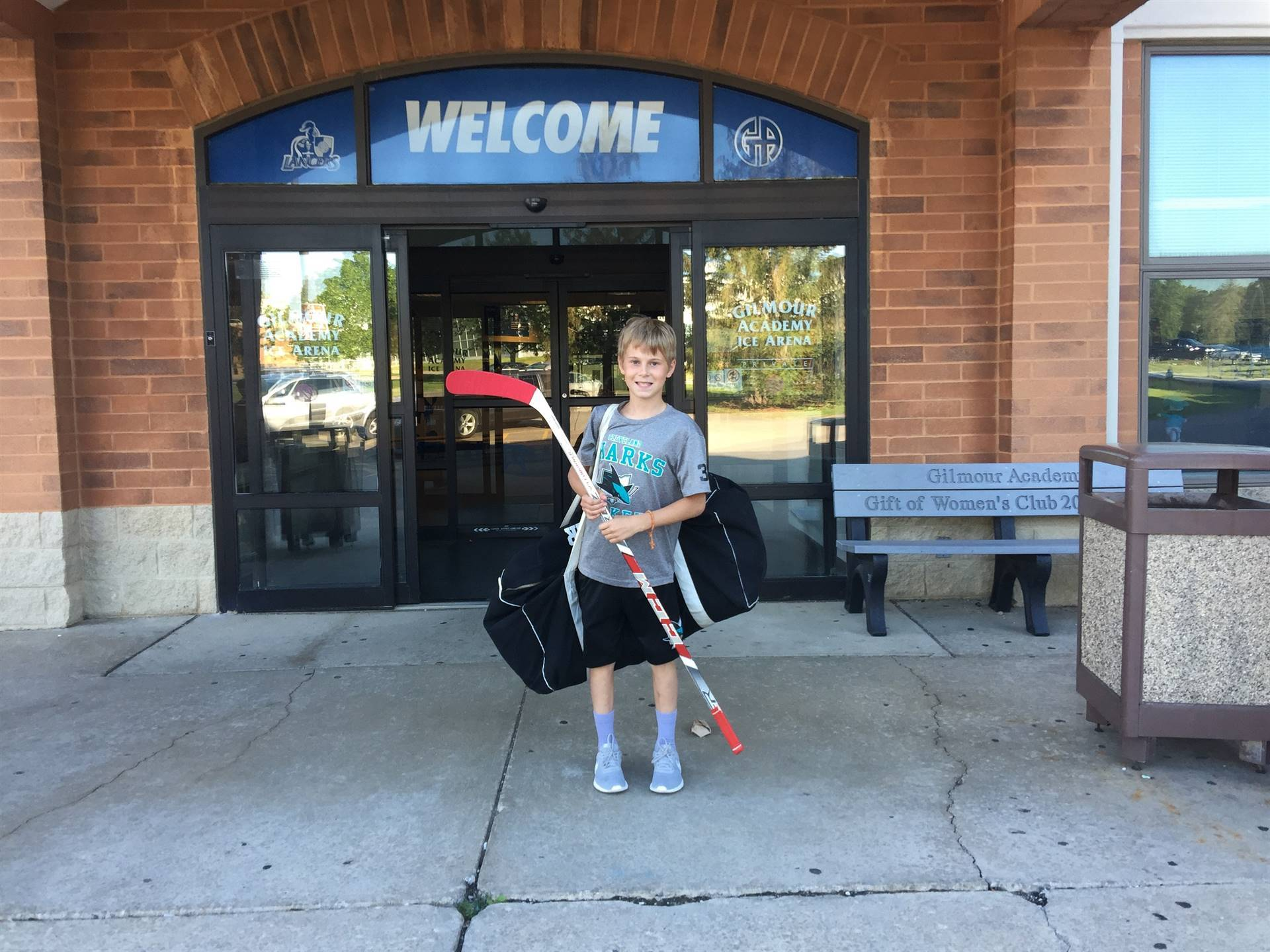Logan W. at Gilmour Academy for Hockey camp!!
